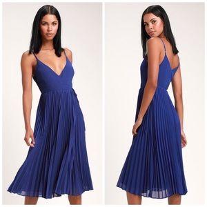 ✨Sale✨ Lulus Royal Blue Pleated Wrap Midi Dress
